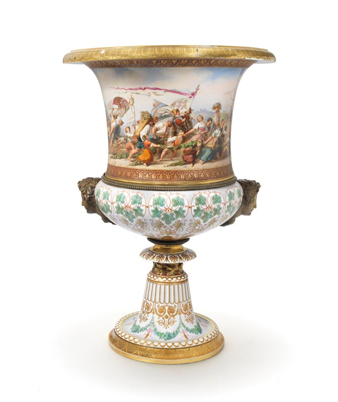 A very large Berlin porcelain vase, c.1859, 90cms high